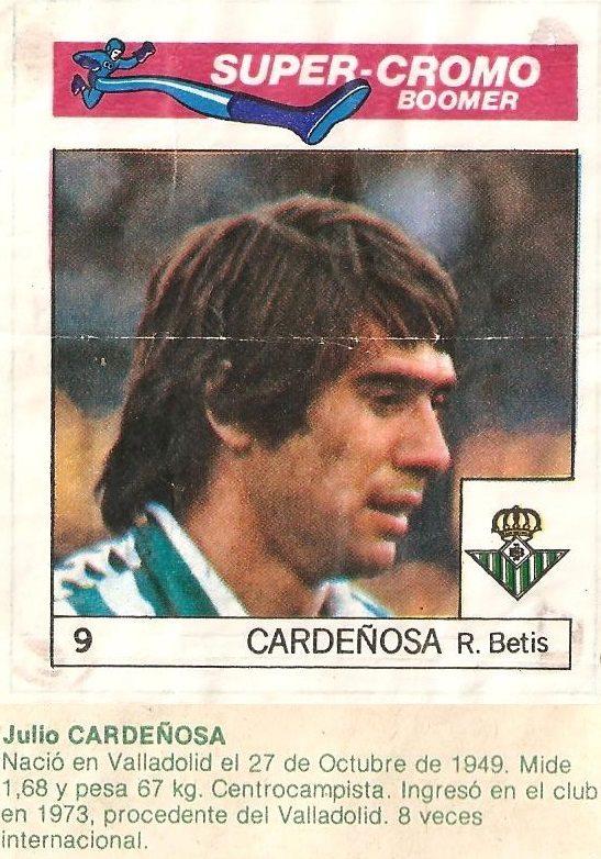 Super Cromos Los Mejores del Mundo (1981). Cardeñosa (Real Betis). Chicle Fútbol Boomer.