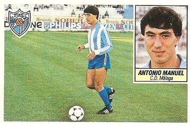 Liga 84-85. Antonio Manuel (Coloca por Fernando Rodríguez) (C.D. Málaga). Ediciones Este.