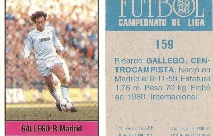 Fútbol 85-86. Campeonato de Liga. Gallego (Real Madrid). Editorial Lisel.