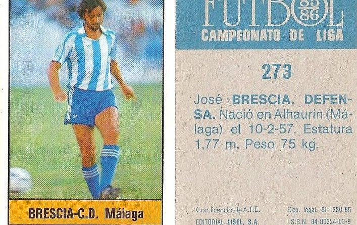 Fútbol 85-86. Campeonato de Liga. Brescia (C.D. Málaga). Editorial Lisel.