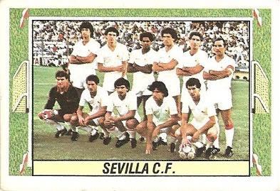 Liga 84-85. Alineación Sevilla C.F. (Sevilla C.F.). Ediciones Este.