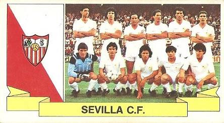 Liga 85-86. Alineación Sevilla C.F. (Sevilla C.F.). Ediciones Este.