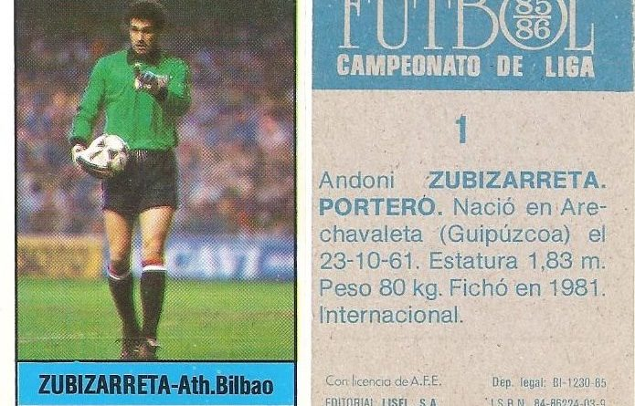Fútbol 85-86. Campeonato de Liga. Zubizarreta (Ath. Bilbao). Editorial Lisel.