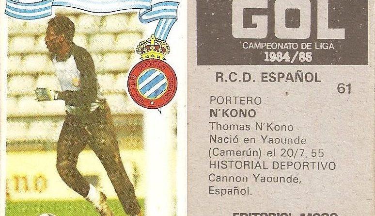 Gol. Campeonato de Liga 1984-85. N´Kono (R.C.D. Español). Editorial Maga.