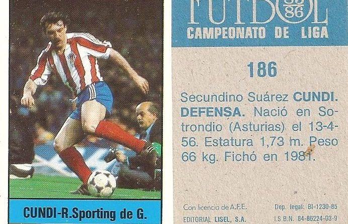 Fútbol 85-86. Campeonato de Liga. Cundi (Real Sporting de Gijón). Editorial Lisel.