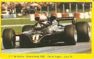 Grand Prix Ford 1982 . Elio de Angelis (Lotus). (Editorial Danone).