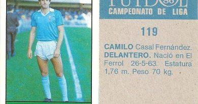 Fútbol 85-86. Campeonato de Liga. Camilo (Real Club Celta de Vigo). Editorial Lisel.