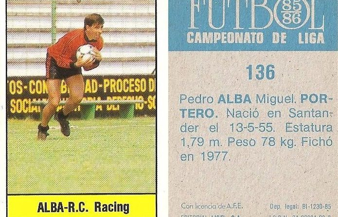 Fútbol 85-86. Campeonato de Liga. Alba (Racing de Santander). Editorial Lisel.