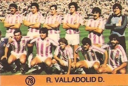 1983-84 Super Campeones. Alineación Real Valladolid (Real Valladolid). (Ediciones Gol).