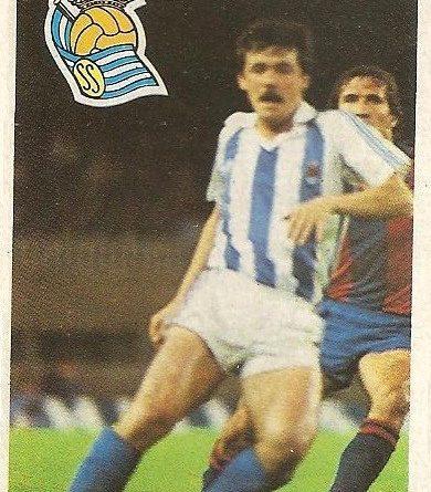 Diego Armando Maradona. Sus driblings. Sus goles. Liga 84-85. Larrañaga (Real Sociedad). Cromo Esport.