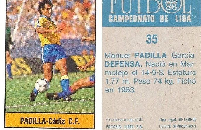 Fútbol 85-86. Campeonato de Liga. Padilla (Cádiz C.F.). Editorial Lisel.