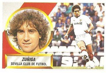Liga 88-89. Fichaje Nº 15 Zuñiga (Sevilla C.F.). Ediciones Este.
