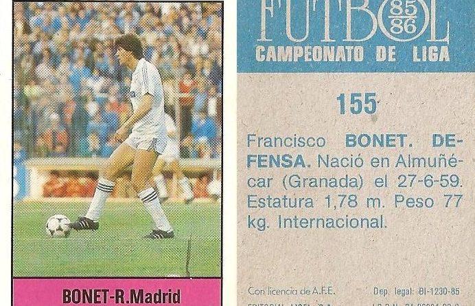 Fútbol 85-86. Campeonato de Liga. Bonet (Real Madrid). Editorial Lisel.