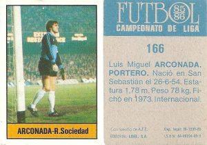 Fútbol 85-86. Campeonato de Liga. Arconada (Real Sociedad). Editorial Lisel.