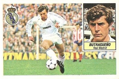 Liga 84-85. Butragueño (Real Madrid). Ediciones Este.