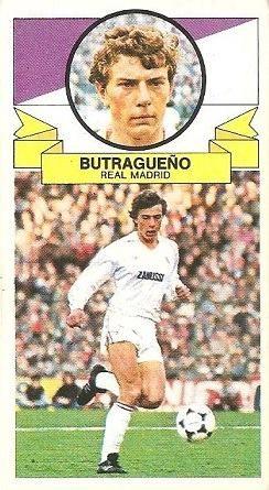 Liga 85-86. Butragueño (Real Madrid). Ediciones Este.