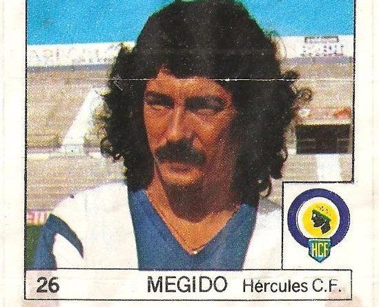 Super Cromos Los Mejores del Mundo (1981). Megido (Hércules C.F.). Chicle Fútbol Boomer.