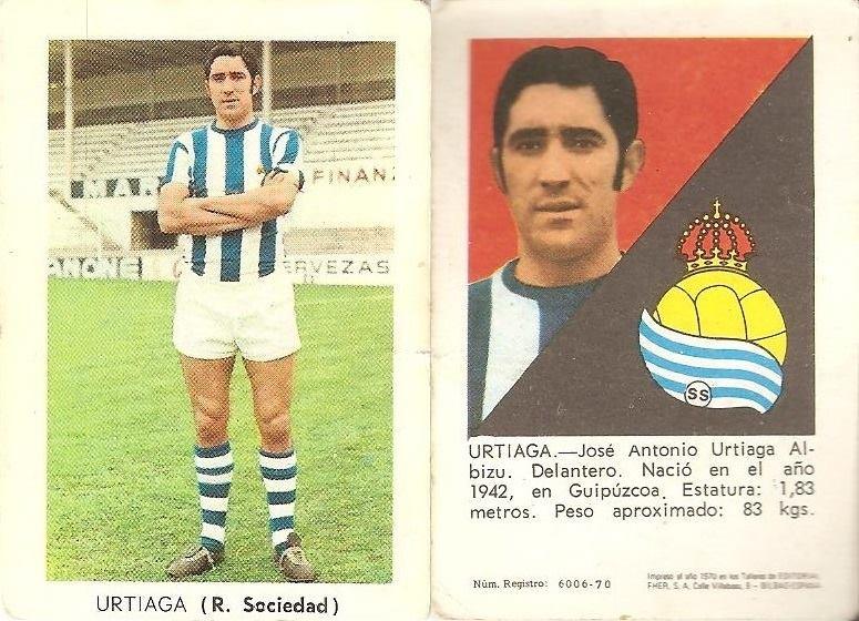 Liga 70-71. Urtiaga (R. Sociedad). Editorial Fher.