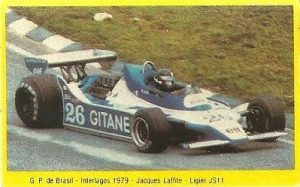 Grand Prix Ford 1982. Jacques Laffite (Ligier). (Editorial Danone).