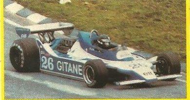Grand Prix Ford 1982. Jacques Laffite (Ligier). (Editorial Danone).