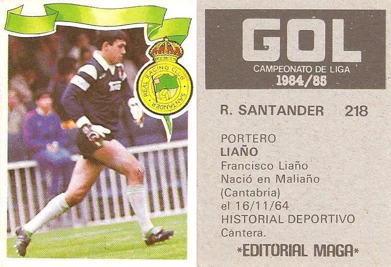 Gol. Campeonato de Liga 1984-85. Liaño (Racing de Santander). Editorial