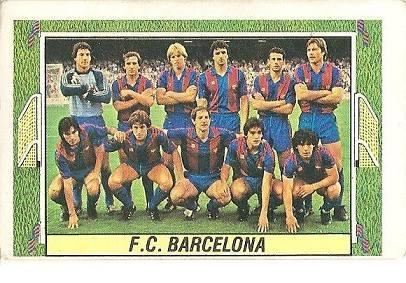 Liga 84-85. Alineación F.C. Barcelona (F.C. Barcelona). Ediciones Este.