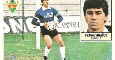 Liga 84-85. Pedro Muñoz (Coloca por Vidal) (Elche C.F.). Ediciones Este.