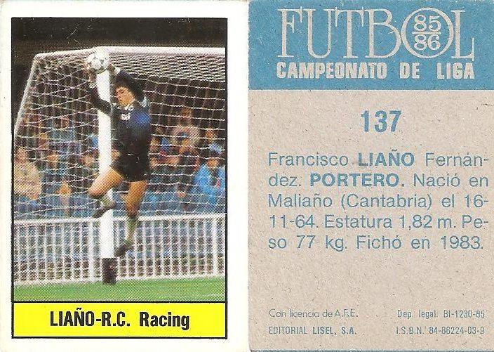 Fútbol 85-86. Campeonato de Liga. Liaño (Racing de Santander). Editorial Lisel.