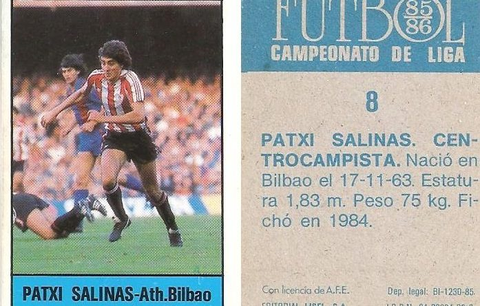 Fútbol 85-86. Campeonato de Liga. Patxi Salinas (Ath. Bilbao). Editorial Lisel.