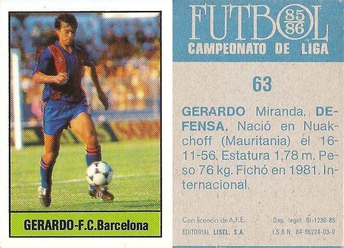 Fútbol 85-86. Campeonato de Liga. Gerardo (F.C. Barcelona). Editorial Lisel.