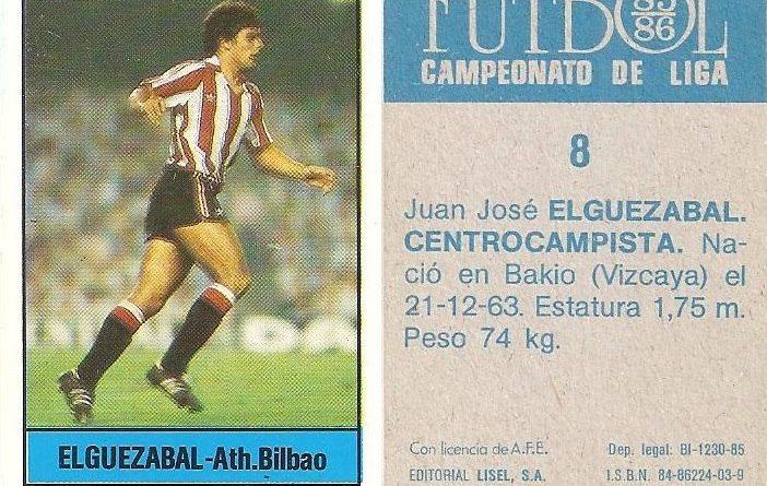 Fútbol 85-86. Campeonato de Liga. Elguezabal (Ath. Bilbao). Editorial Lisel.
