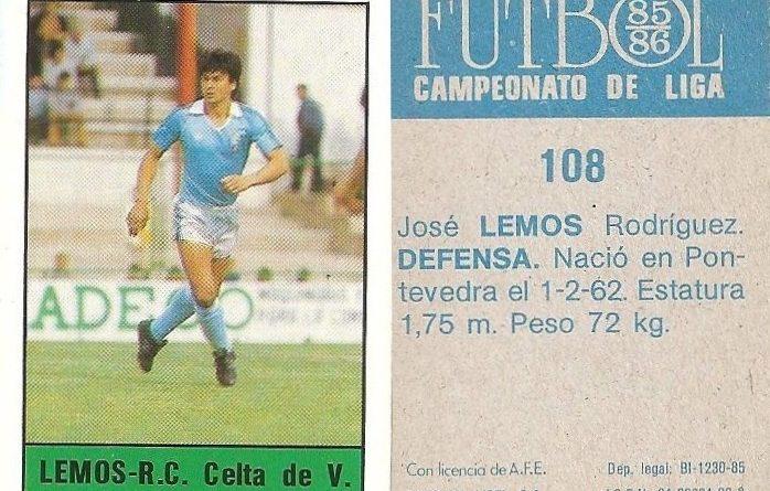 Fútbol 85-86. Campeonato de Liga. Lemos (Real Club Celta de Vigo). Editorial Lisel.