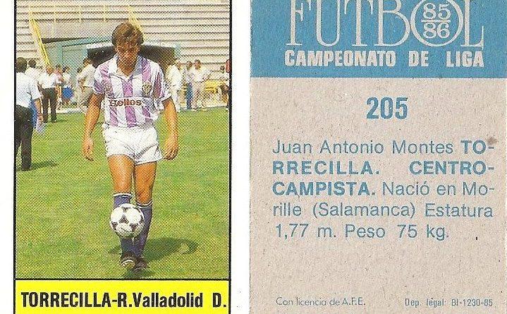Fútbol 85-86. Campeonato de Liga. Torrecilla (Real Valladolid). Editorial Lisel.