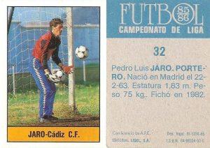 Fútbol 85-86. Campeonato de Liga. Jaro (Cádiz C.F.). Editorial Lisel.