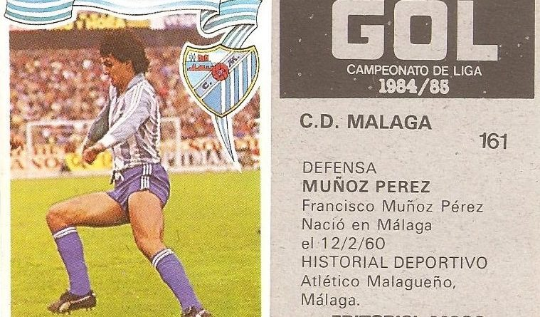 Gol. Campeonato de Liga 1984-85. Muñoz Pérez (C.D. Málaga). Editorial Maga.