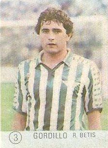 1983 Selección de Fútbol Liga Española. Gordillo (Real Betis). Editorial Mateo Mirete.