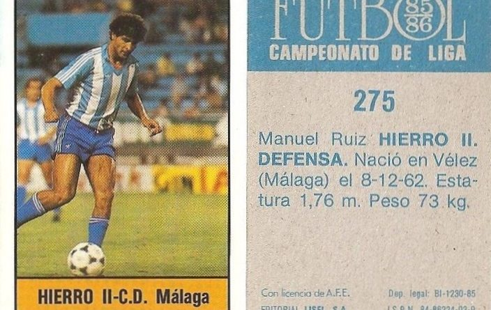 Fútbol 85-86. Campeonato de Liga. Hierro II (C.D. Málaga). Editorial Lisel.