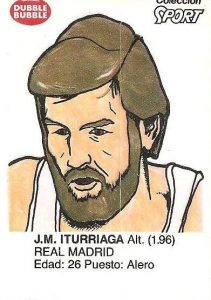 Liga Baloncesto 1985-1986. Iturriaga (Real Madrid). Ediciones Dubble Dubble.