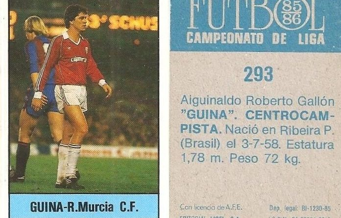 Fútbol 85-86. Campeonato de Liga. Guina (Real Murcia). Editorial Lisel.