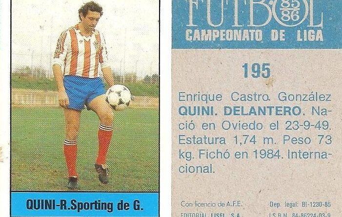 Fútbol 85-86. Campeonato de Liga. Quini (Real Sporting de Gijón). Editorial Lisel.