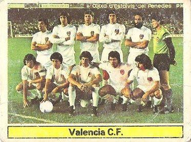 Liga 81-82. Alineación Valencia C. F. (Valencia C.F.). Ediciones Este.