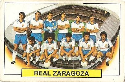 Liga 83-84. Alineación Real Zaragoza (Real Zaragoza). Ediciones Este.
