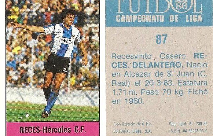 Fútbol 85-86. Campeonato de Liga. Reces (Hércules C.F.). Editorial Lisel.