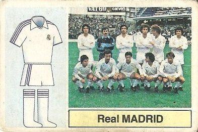 Liga 82-83. Alineación Real Madrid (Real Madrid). Ediciones Este.