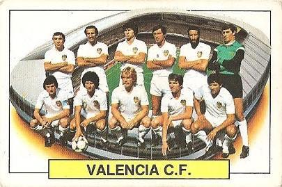 Liga 83-84. Alineación Valencia C.F. (Valencia C.F.). Ediciones Este.