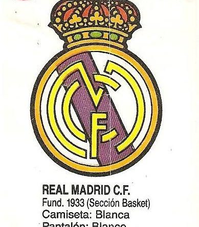 Liga Baloncesto 1985-1986. Escudo Real Madrid (Real Madrid). Ediciones Dubble Dubble.