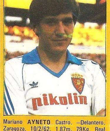 Super Fútbol 85. Ayneto (Real Zaragoza). Super Cromos Rollán.
