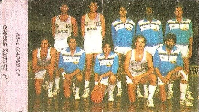 Liga Baloncesto 1985-1986. Plantilla Real Madrid (Real Madrid). Chicle Gumtar.