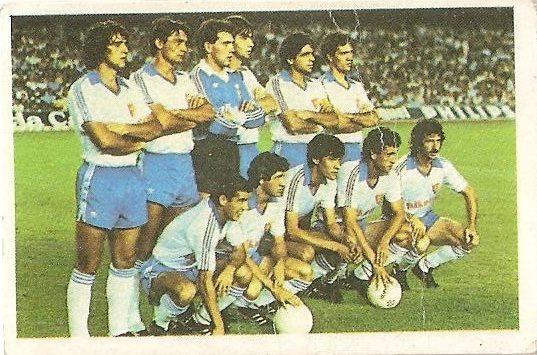 Fútbol 84. Alineación Real Zaragoza (Real Zaragoza). Cromos Cano.