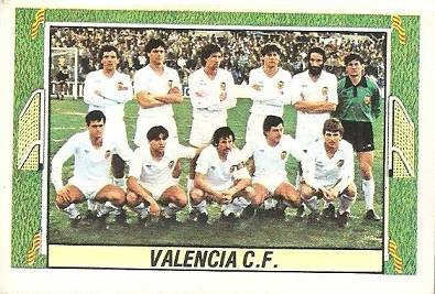 Liga 84-85. Alineación Valencia C.F. (Valencia C.F.). Ediciones Este.